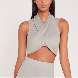 Carly Bibel x Missguided faux suade drape Top